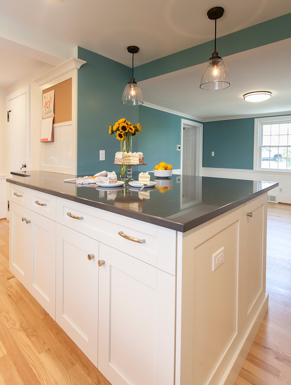 Durable quartz countertops blue and white kitchen