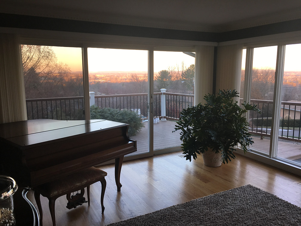 Looking out the living room windows at the view of Connecticut hills.
