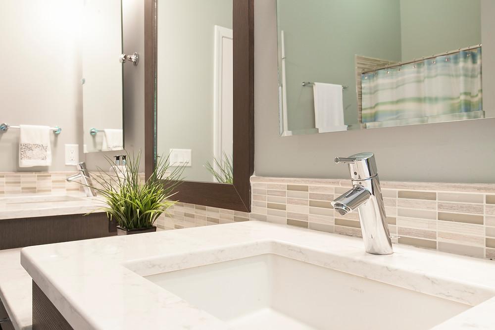 Bathroom with white quartz countertops