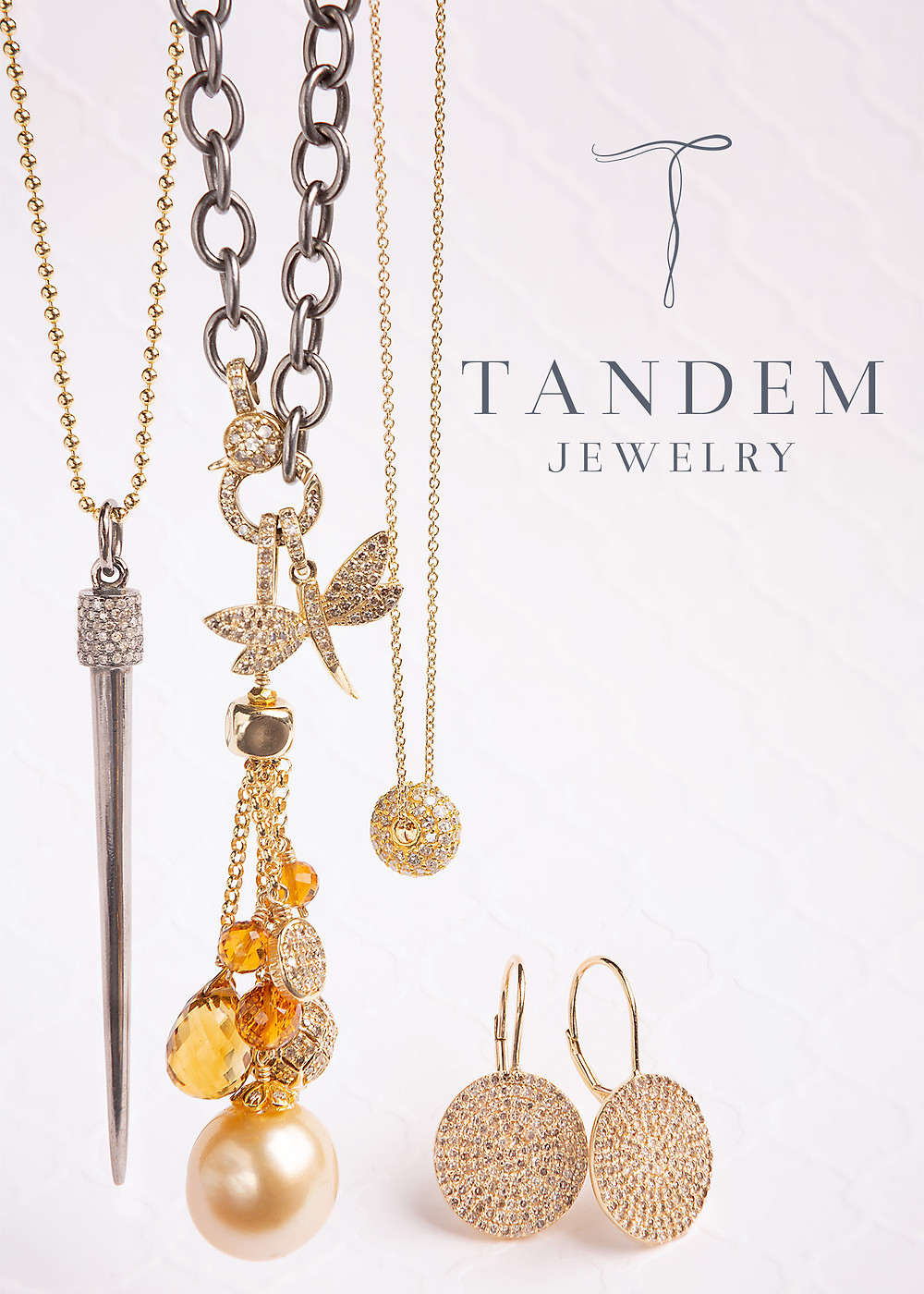Tandem Fine Jewelry precious metals, sparkling diamonds, lustrous Tahitian pearls and semii-precious stones.