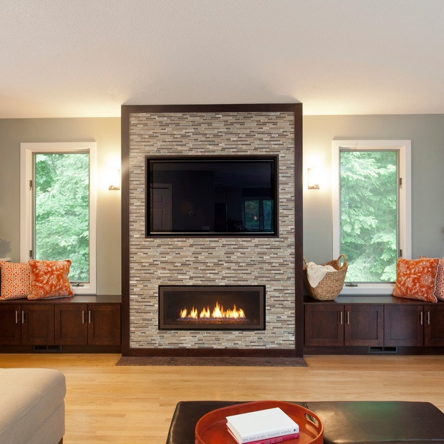 Transformed Family Room & Fireplace Front