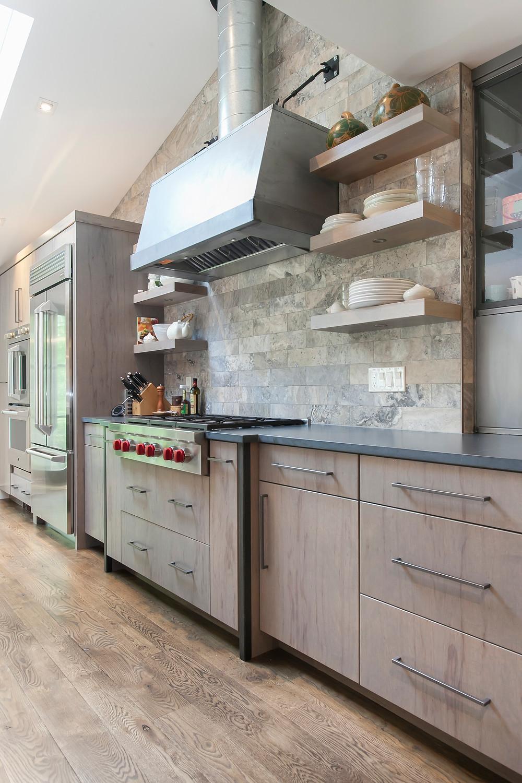 Modern farmhouse kitchen with galvanized hood
