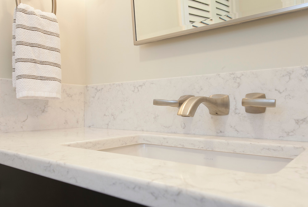 Quartz countertops vanity wall mounted faucet