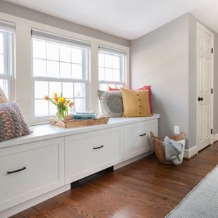 Master Bedroom Closets & Bench Seat for a Modern Master Bath