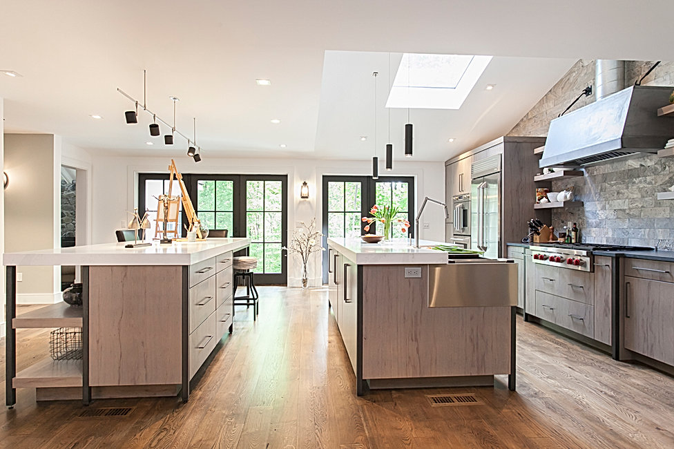 Contemporary kitchen, double islands