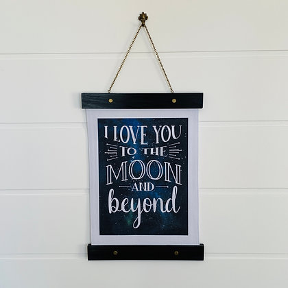 I Love You to the Moon and Beyond Hanging Canvas Print Nursery Decor