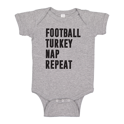Football Turkey Nap Repeat Onesie