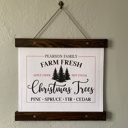 Personalized Family Christmas Tree Farm Hanging Canvas Print