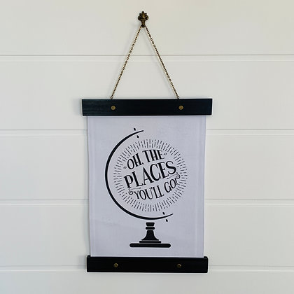 Oh the Places You'll Go Hanging Canvas Print Nursery Decor