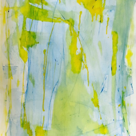 Blue and Yellow Acrylic and Ink on Paper  SOLD