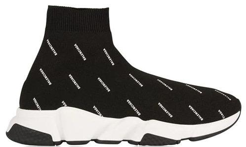 Balenciaga Speed Sock Logo Trainers - Black / White