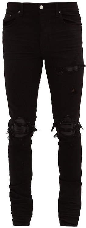 Amiri Black Leather Patch Jeans