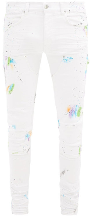 Amiri White Paint Splash Jeans