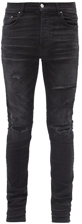 Amiri Dark Grey Broken Thrasher Jeans