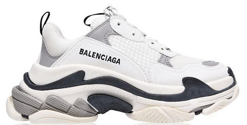 Balenciaga Logo Triple S Trainers - White / Black