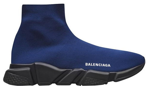 Balenciaga Speed Sock Logo Trainers - Dark Navy