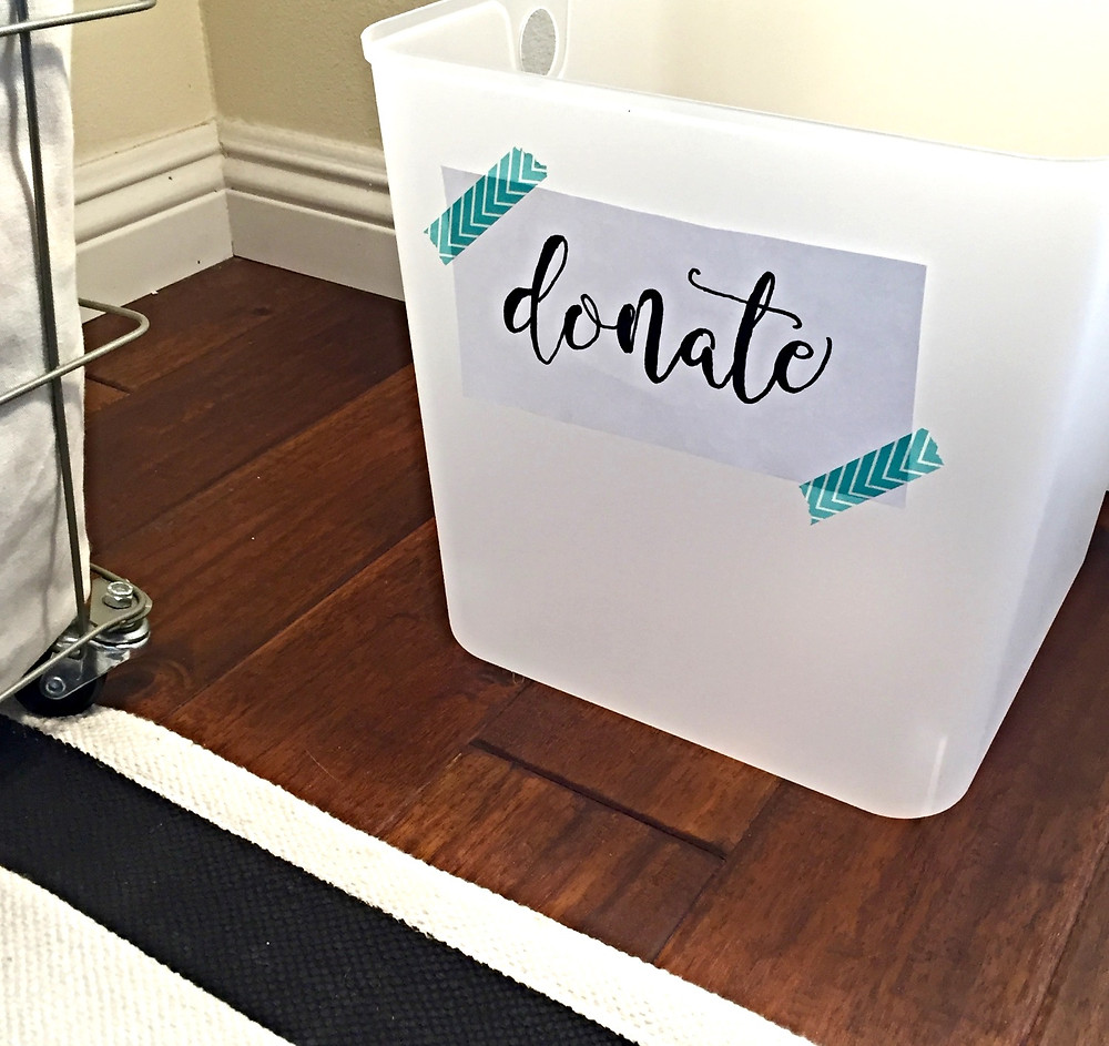 Some pretty hand-lettering and washi tape never hurts.  This is the box I keep in my closet.  Mostly for shoes, my weakness!