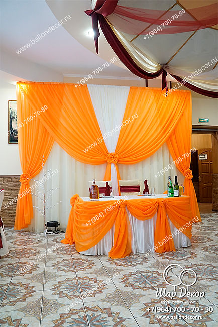 Драпировка тканями свадьбы в Жуковском, кафе Колесо
