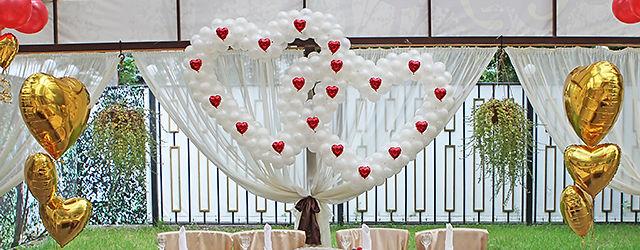 Оформление шарами в Раменском кафе Лесная поляна