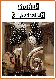 Оформление шарами дня рождения 16 лет, фотозона из шаров, фольгированные цифры на юбилей Раменское, Москва, Воскресенск, Коломна