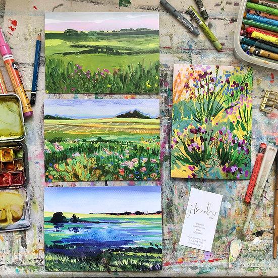 """Prairie Summer"" Landscape Greeting Card Set of 4"