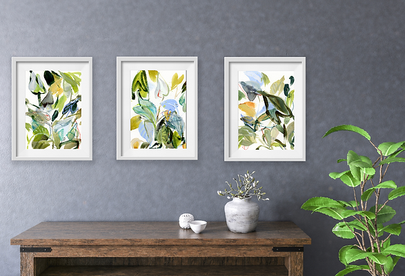 "Set of Three Fine Art Prints - ""Tangle"" 9x12"""