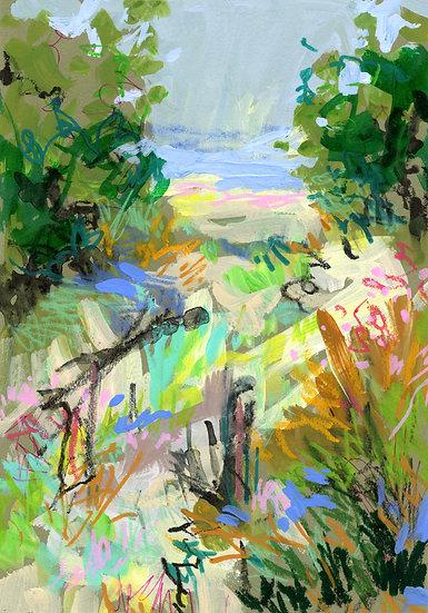 "Untitled Mixed Media Landscape Sketch, 10x7"""