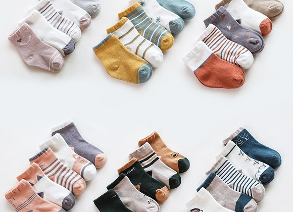 5 Mismatched Baby Cotton Socks
