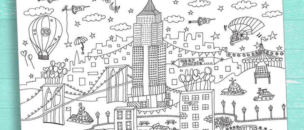 פוסטר צביעה קטן ניו יורק/ דף צביעה/ דף צביעה למבוגרים/ דף צביעה לילדים