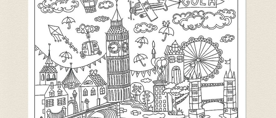 פוסטר לצביעה לונדון, פוסטר מאוייר לצביעה למבוגרים ולילדים