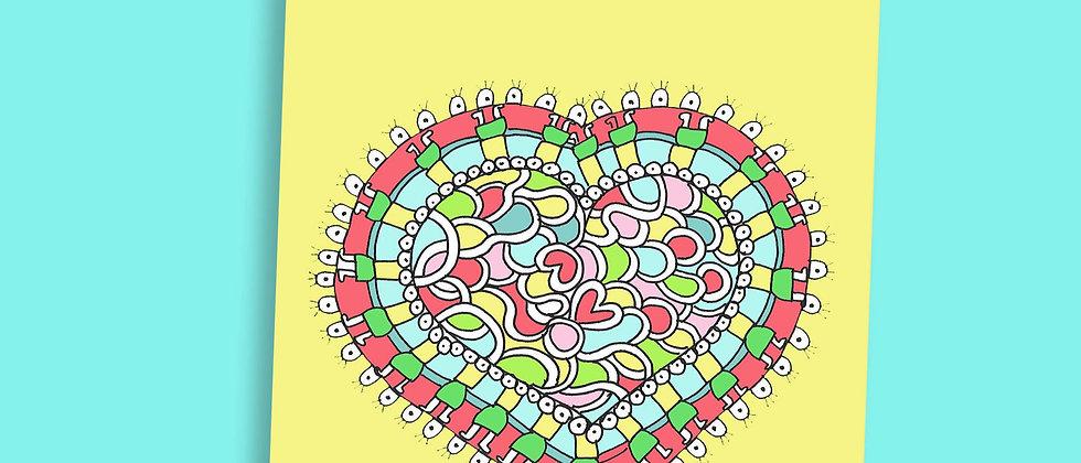 מארז 5 גלויות לב צהוב