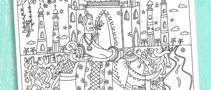 פוסטר צביעה הודו/ דף צביעה/ צביעה למבוגרים/ צביעה לילדים/ פעילות יצירה עם הילדים