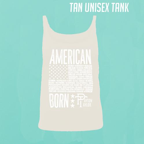"""American Born"" Tan Unisex Tank"