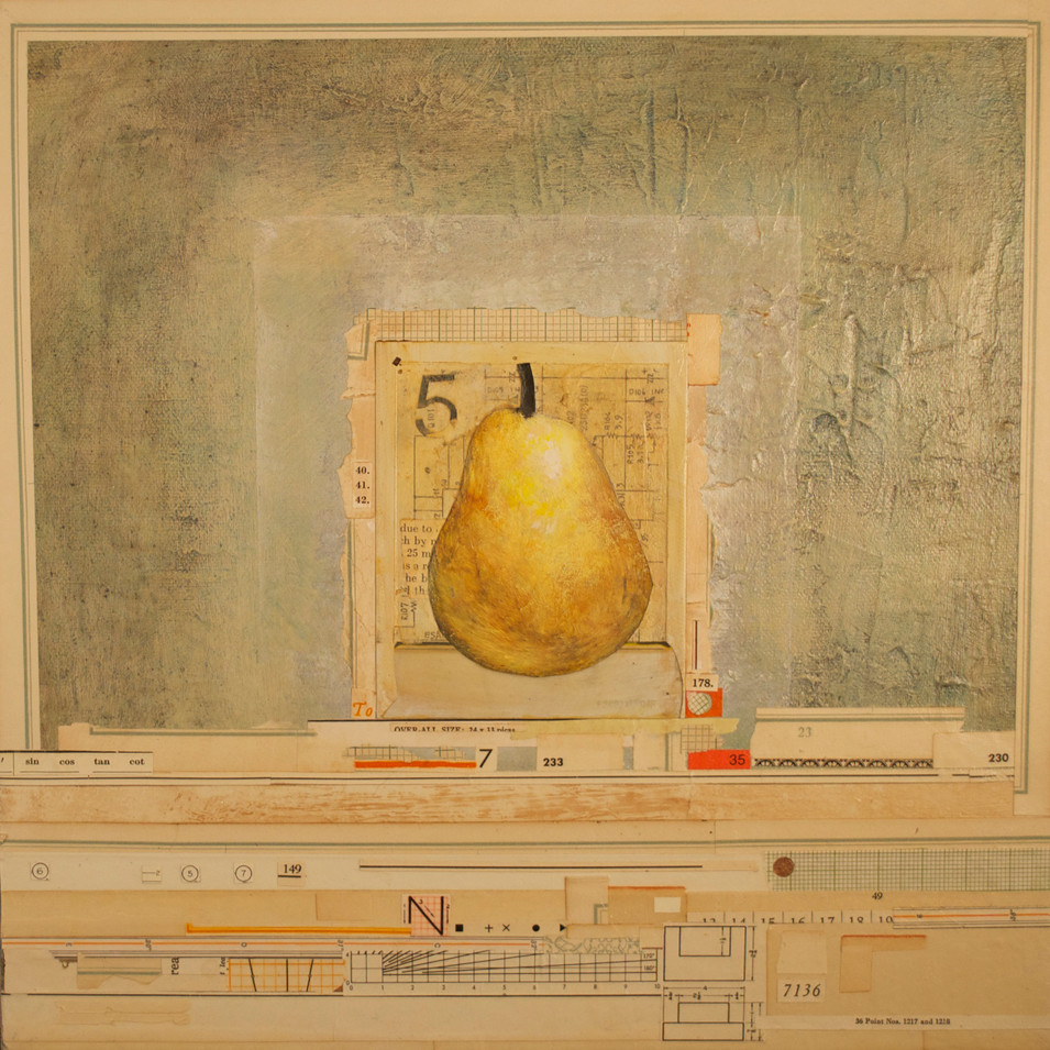 """Pear with a """"5"""" (Polaroid Series) Painted Polaroid, Collage, Pen and Ink Drawing, and Acrylic Paint on Canvas 12"""" x 12"""""""
