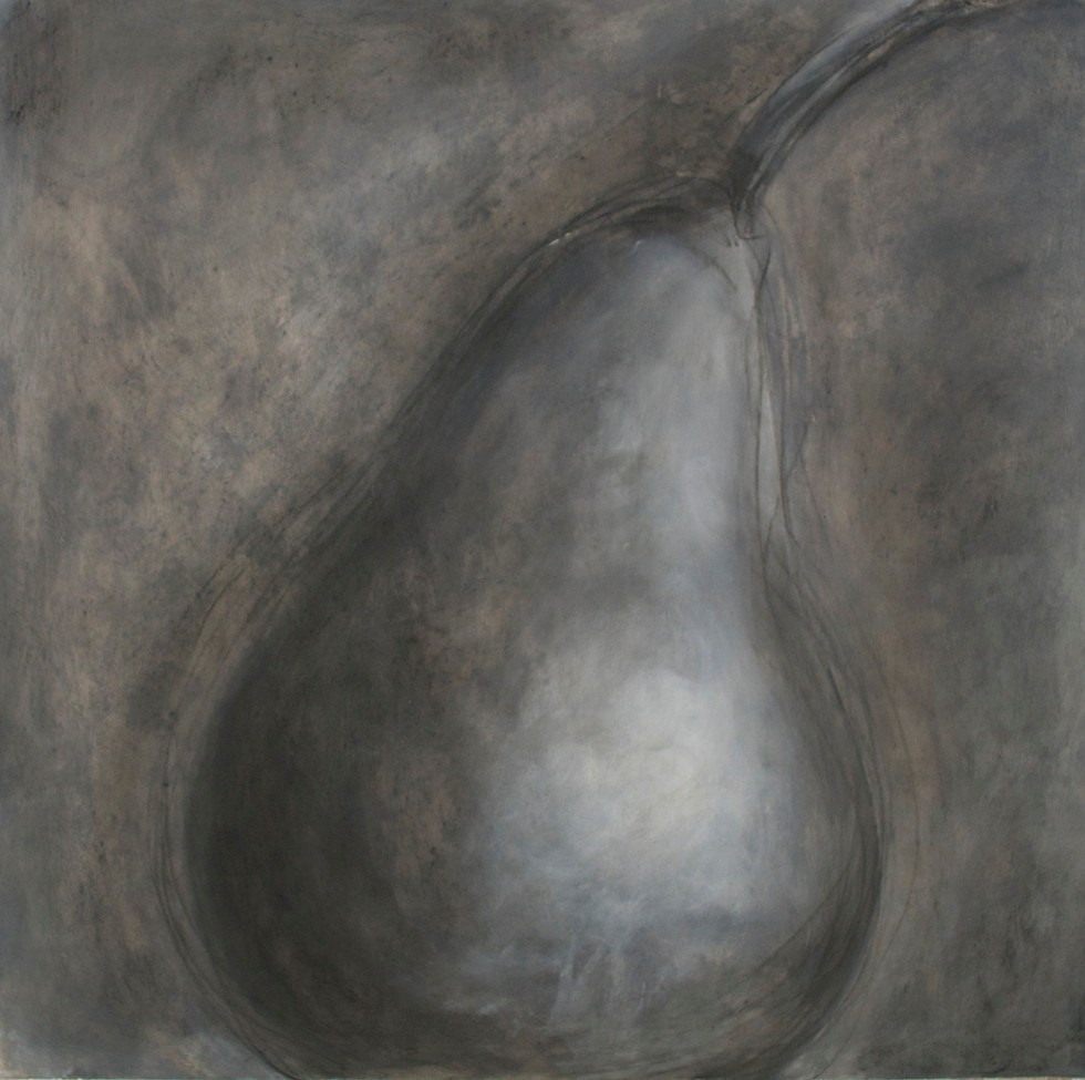 """Large Pear #1 Charcoal, Gesso, and Acrylic Paint 23 1/2"""" x 23 5/8"""""""