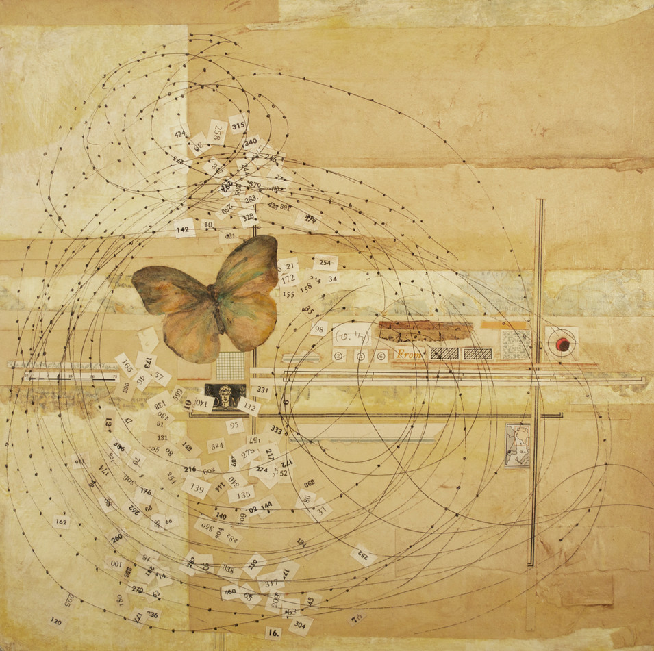 """The Passage Painted Butterflies, Pen and Ink Drawing, Collage, and Acrylic Paint on Canvas 12"""" x 12"""""""