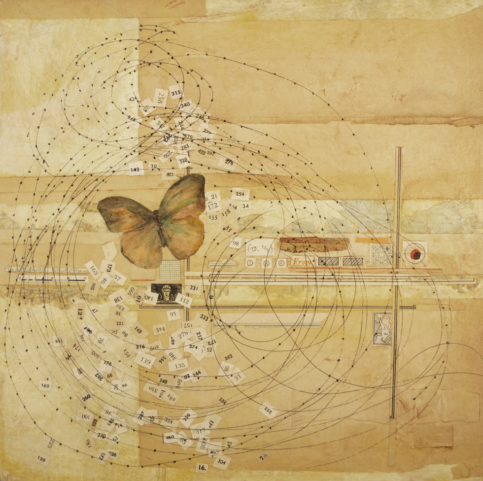 "The Passage Painted Butterflies, Pen and Ink Drawing, Collage, and Acrylic Paint on Canvas 12"" x 12"""