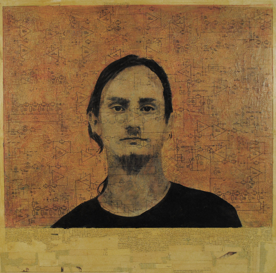 """Braddon Painted Portrait, Pen and Ink Drawing, Acrylic Paint and Collage on Board 30""""x 30"""""""