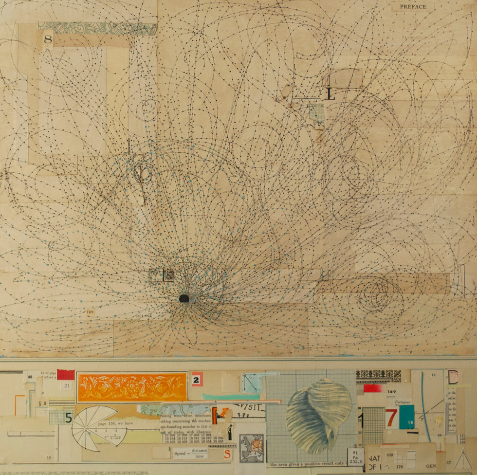 """Starry Night Pen and Ink Drawing and Antique Papers on Board 16""""x 16"""""""