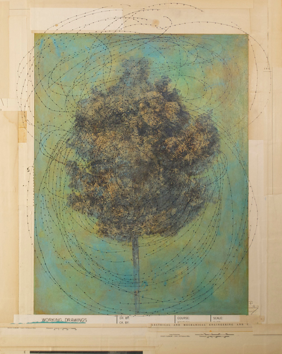 """Arbor Imaginalis Acrylic Paint, Pen and Ink Drawing, and Collage on Board 20"""" x 16"""""""