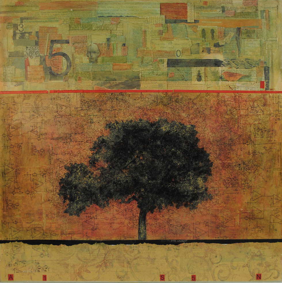 "Riverside Tree Paper and Acrylic Paint on Board 30"" x 30"""