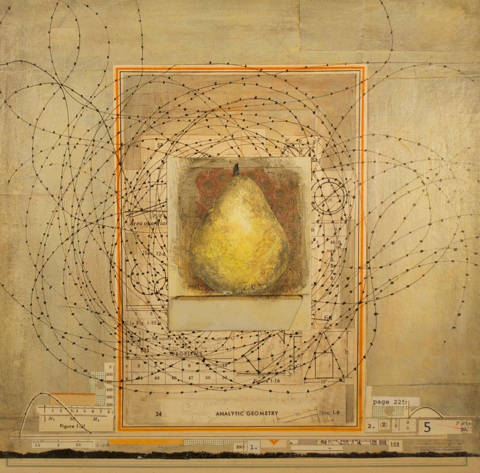 """Pear with a """"34"""" (Polaroid Series) Painted Polaroid, Collage, Pen and Ink Drawing, and Acrylic Paint on Canvas 12"""" x 12"""""""