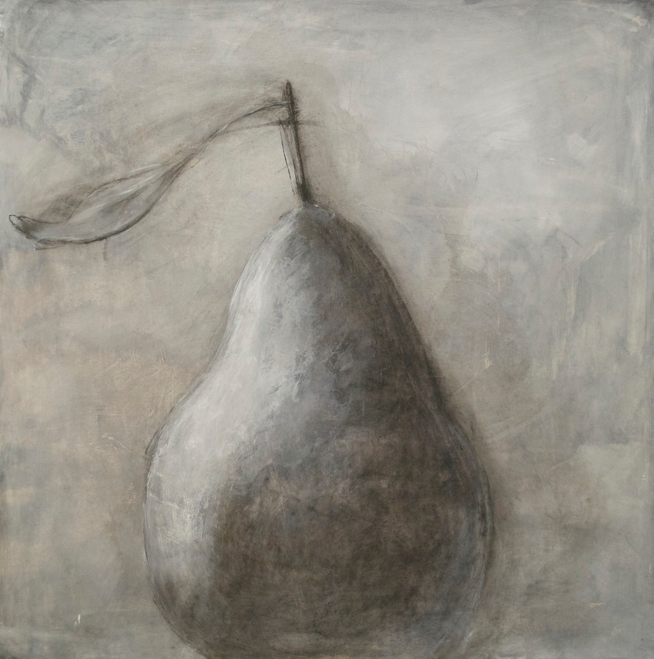 """Large Pear #2 Charcoal, Gesso, and Acrylic Paint 23 1/2"""" x 23 5/8"""""""