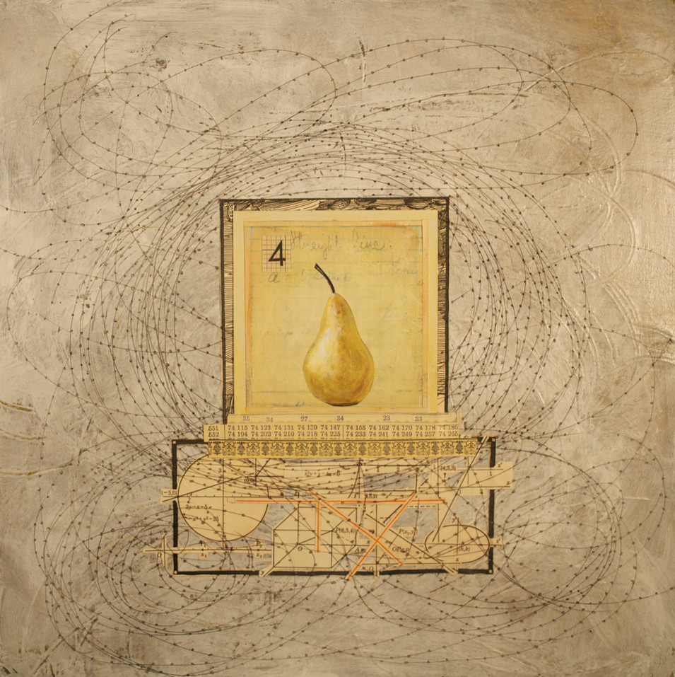 """Pear with a """"4"""" (Polaroid Series) Painted Polaroid, Collage, Pen and Ink Drawing, and Acrylic Paint on Canvas 12"""" x 12"""""""
