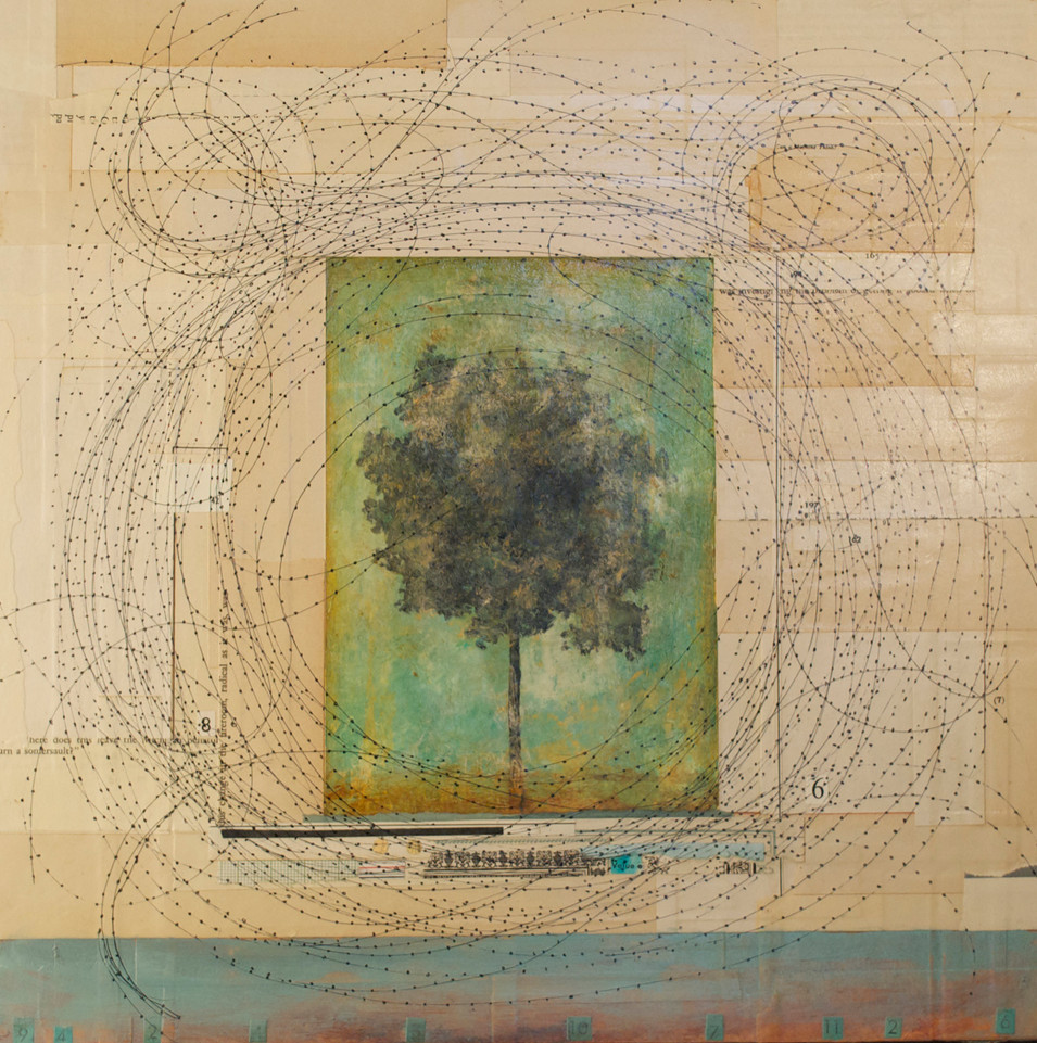 """Arbor Elementalis Acrylic Paint, Pen and Ink Drawing, and Collage on Board 16"""" x 16"""""""