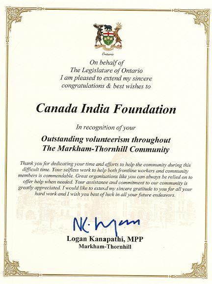 Appreciation by MPP Logan Kanapathi
