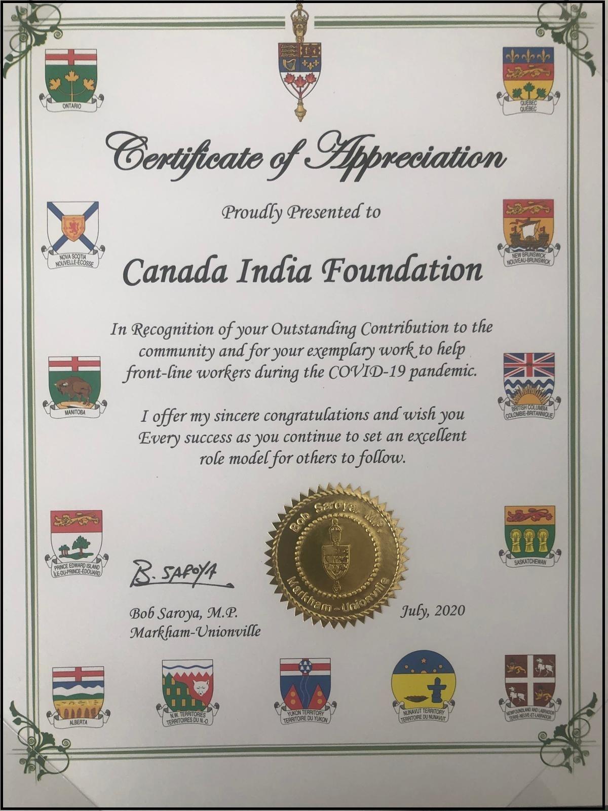 Letter of Appreciation by Bob Saroya, MP