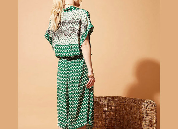 Stella Forest - Green Long printed dress with tailored collar