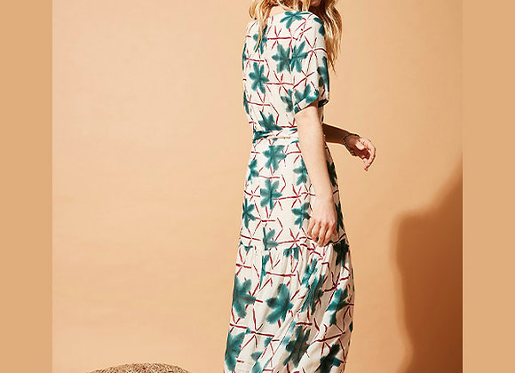 Stella Forest - Multicolored Long printed V-neck dress