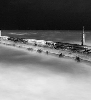 Black & White Pier at Night